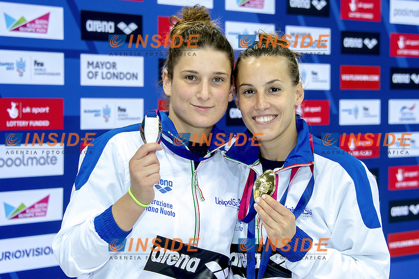 Elena BERTOCCHI , silver, Tania CAGNOTTO, gold <br /> both from Italy ITA <br /> London, Queen Elizabeth II Olympic Park Pool <br /> LEN 2016 European Aquatics Elite Championships <br /> 1m. springboard women diving<br /> Day 03 11-05-2016<br /> Photo Giorgio Scala/Deepbluemedia/Insidefoto