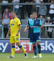Adam El-Abd of Wycombe Wanderers & Cody McDonald of AFC Wimbledon during the pre season friendly 'Cherry Red Records Cup' match between Wycombe Wanderers and AFC Wimbledon at Adams Park, High Wycombe, England on 25 July 2017. Photo by Kevin Prescod / PRiME Media Images.