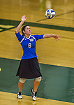 1 November 2015: Yeshiva University Maccabee Setter and Defensive Specialist Yael Ghelman, a Sophomore from Houston, TX, serves against the SUNY College at Old Westbury Panthers at SUNY Old Westbury in Old Westbury, NY. The Panthers edged out the Maccabees 3-2 in NCAA women's volleyball, Skyline Conference play. Mandatory Credit: Ed Wolfstein Photo *** RAW (NEF) Image File Available ***