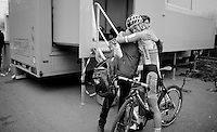 Ellen Van Loy (BEL/Telenet-Fidea) falls into the arms of a friend soigneur after finishing<br /> <br /> Flandriencross Hamme 2014