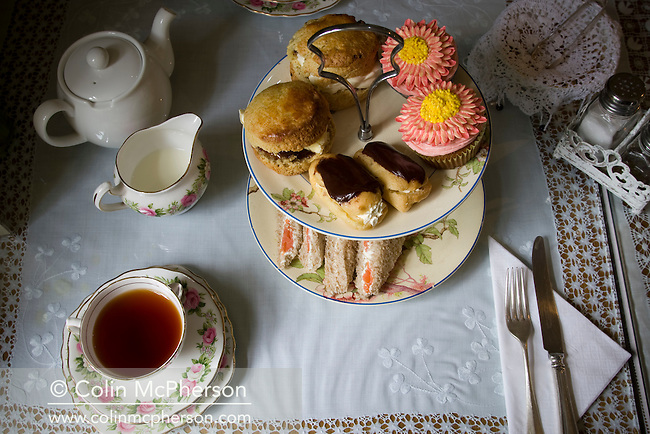 Afternoon tea, served in the cafe at Davenport's farm shop in Bartington, near Northwich, pictured as part of the Cheshire Food Trail.