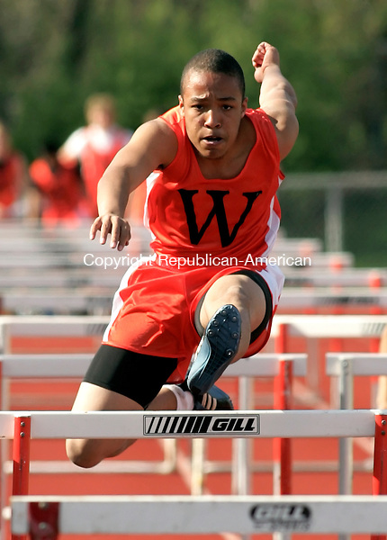 WATERTOWN, CT-20 APRIL 2010-042010JS09-Watertown's Jordan Watkins took first in the 100m hurdles with a tim eof 16.2 during their meet against Torrington Tuesday at Watertown High School. <br /> Jim Shannon Republican-American
