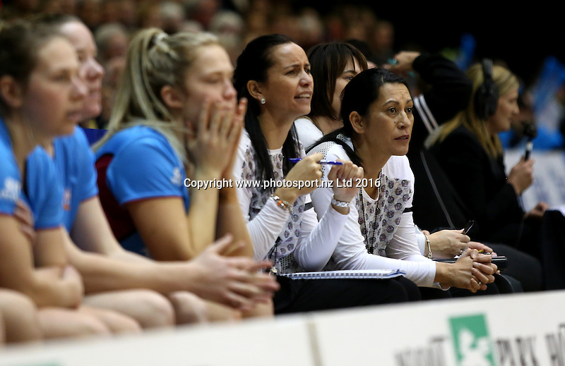 Noeline Taurua, coach of the Steel, looks on from the bench during the ANZ Championship netball match between the Southern Steel and Waikato Bay of Plenty Magic, ILT Stadium Southland, Invercargill, Sunday, June 19, 2016. Photo: Dianne Manson / www.photosport.nz