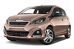 Stock pictures of low aggressive front three quarter view of a 2014 Peugeot 108 Allure 5 Door Micro Car 2WD Low Aggressive