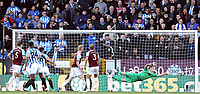 Burnley's Joe Hart is beaten as Huddersfield Town's Christopher Schindler (No.26) scores his side's equalising goal to make the score 1-1<br /> <br /> Photographer Rich Linley/CameraSport<br /> <br /> The Premier League - Burnley v Huddersfield Town - Saturday 6th October 2018 - Turf Moor - Burnley<br /> <br /> World Copyright &copy; 2018 CameraSport. All rights reserved. 43 Linden Ave. Countesthorpe. Leicester. England. LE8 5PG - Tel: +44 (0) 116 277 4147 - admin@camerasport.com - www.camerasport.com