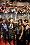 Spanish singer David Bisbal (2L), Maria Valverde (2R), Barbara Goenada and cinema director Kike Maíllo (L) attend David Bisbal´s new music album premiere photocall at Callao cinema in Madrid, Spain. March 17, 2014. (ALTERPHOTOS/Victor Blanco)