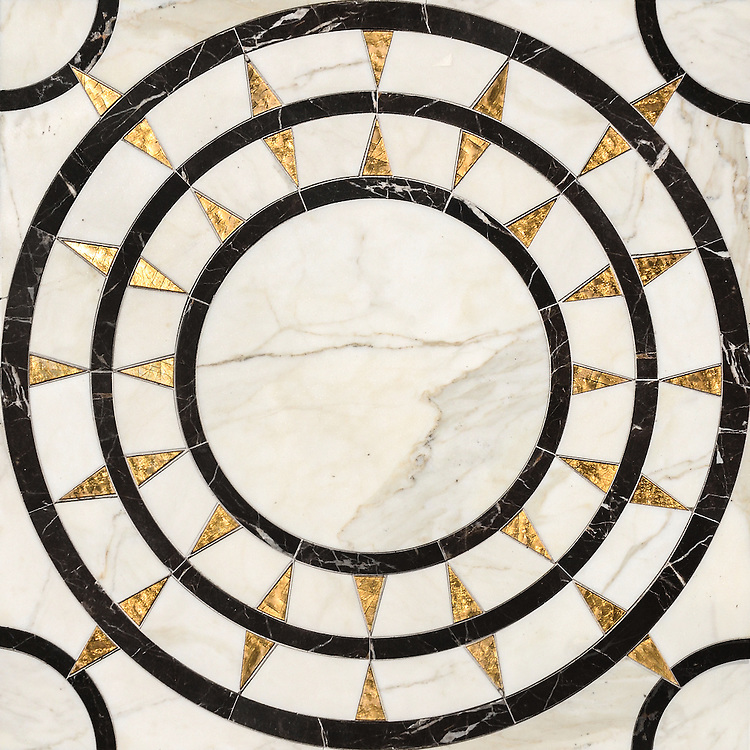 Mireille, a waterjet mosaic shown in honed 24K Gold Glass, Calacatta and Saint Laurent, is part of the Aurora® collection by New Ravenna.