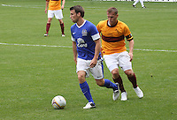 Jack Rodwell Closed down by Steven Hammell in the Motherwell v Everton friendly match at Fir Park, Motherwell on 21.7.12 for Steven Hammell's Testimonial.