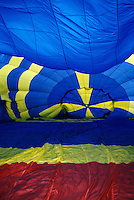 Interior of Hot Air Balloon being inflated with fan