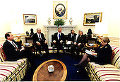 United States President Bill Clinton meets with Israeli Prime Minister Binyamin Netanyahu and Palestinian Authority Chairman Yasser Arafat in the Oval Office at the White House in Washington, D.C. on Thursday, October 15, 1998. .  Pictured left to right: United States Vice President Al Gore; Prime Minister Netanyahu; President Clinton; Gamal Helal, the interpreter; Chairman Arafat; and Secretary of State Madeleine Albright..Mandatory Credit: Barbara Kinney / White House via CNP
