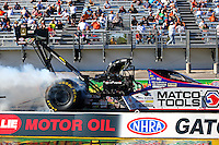 Mar 14, 2014; Gainesville, FL, USA; NHRA top fuel dragster driver Antron Brown during qualifying for the Gatornationals at Gainesville Raceway Mandatory Credit: Mark J. Rebilas-USA TODAY Sports
