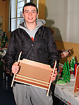 Jordan Carolan at the Youthreach Christmas Party with his crafts..Picture: Shane Maguire / www.newsfile.ie.