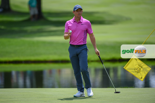 Rory McIlroy (NIR) sinks his putt on 3 during 2nd round of the World Golf Championships - Bridgestone Invitational, at the Firestone Country Club, Akron, Ohio. 8/3/2018.<br /> Picture: Golffile | Ken Murray<br /> <br /> <br /> All photo usage must carry mandatory copyright credit (© Golffile | Ken Murray)