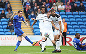 30th September 2017, Cardiff City Stadium, Cardiff, Wales; EFL Championship football, Cardiff City versus Derby County; Lee Tomlin of Cardiff City gets a shot off but is blocked by the Derby County defense