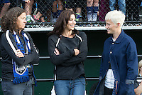 Seattle, WA - Saturday July 16, 2016: Lesle Gallimore, Hope Solo, Megan Rapinoe prior to a regular season National Women's Soccer League (NWSL) match between the Seattle Reign FC and the Western New York Flash at Memorial Stadium.