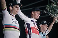 First podium of teh new Cx-season:<br /> 1/ Mathieu van der Poel (NED/Beobank-Corendon)<br /> 2/ CX World Champion Wout Van Aert (BEL/Crelan-Charles)<br /> 3/ Michael Vanthourenhout (BEL/Marlux-Napoleon Games)<br /> <br /> CX Brico Cross Eeklo 2017 (BEL)