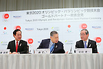 (L to R) <br />   Yasuhiro Sato, <br /> Yoshiro Mori, <br />   Koichi Miyata, <br /> APRIL 14, 2015 : <br /> Mizuho and Sumitomo Mitsui Financial Group has Press conference <br /> in Tokyo. <br /> Mizuho and Sumitomo Mitsui Financial Group announced that <br /> it has entered into a partnership agreement with <br /> the Tokyo Organising Committee of the Olympic and Paralympic Games. <br /> With this agreement, Mizuho and Sumitomo Mitsui Financial Group becomes the gold partner. <br /> (Photo by YUTAKA/AFLO SPORT) [1040]