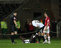 ATTENTION SPORTS PICTURE DESK<br /> Pictured: Nathan Dyer (left) and Cedric van der Gun (right) of Swansea City in action <br /> Re: Coca Cola Championship Swansea City Football Club v Bristol City at the Liberty Stadium, Swansea, south Wales. Tuesday 15 September 2009