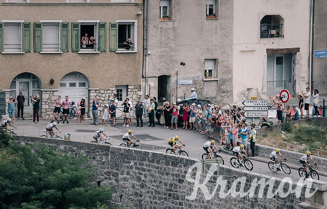 The Chris Froome (GBR/SKY) train coming through the town of Sisteron<br /> <br /> 104th Tour de France 2017<br /> Stage 19 - Embrun &rsaquo; Salon-de-Provence (220km)