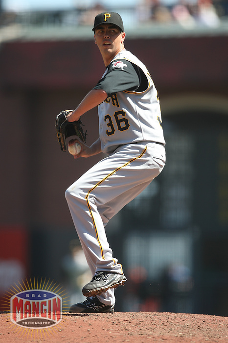 SAN FRANCISCO - SEPTEMBER 7:  Jeff Karstens of the Pittsburgh Pirates pitches during the game against the San Francisco Giants at AT&T Park in San Francisco, California on September 7, 2008.  The Giants defeated the Pirates 11-6.  Photo by Brad Mangin