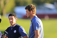 Rory McIlroy (NIR) and Thomas Pieters (BEL) after there win on the 16th green during the Friday afternoon fourball at the Ryder Cup, Hazeltine national Golf Club, Chaska, Minnesota, USA.  01/10/2016<br /> Picture: Golffile | Fran Caffrey<br /> <br /> <br /> All photo usage must carry mandatory copyright credit (&copy; Golffile | Fran Caffrey)