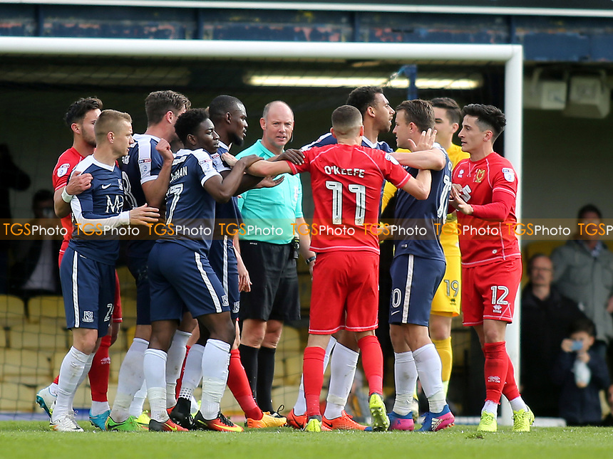 Tempers flare in the second half during Southend United vs MK Dons, Sky Bet EFL League 1 Football at Roots Hall on 17th April 2017