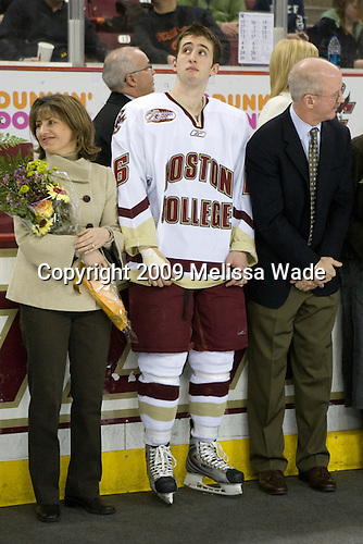 Eileen Kunes, Tim Kunes (Boston College - 6), Rick Kunes - The Boston College Eagles defeated the Northeastern University Huskies 4-1 on senior night at Kelley Rink at Conte Forum in Chestnut Hill, Massachusetts, on Saturday, March 7, 2009.