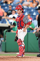 Clearwater Threshers catcher Corey Bass (23) during a game against the Brevard County Manatees on June 28, 2014 at Bright House Field in Clearwater, Florida.  Brevard County defeated Clearwater 6-4.  (Mike Janes/Four Seam Images)