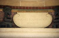Amérique/Amérique du Nord/USA/Etats-Unis/Vallée du Delaware/Pennsylvanie/Philadelphie : Fondation Barnes une des plus grande collections privées au monde de peintures françaises impressionnistes et post impressionnistes - Détail du portail d'entrée
