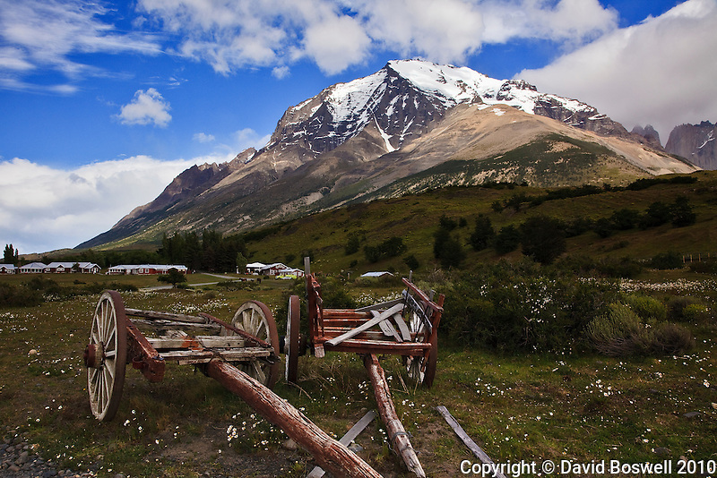Decrepit wagons at the start of the trail to the bases of the Towers in Torres del Paine National Park in Southern Patagonia.