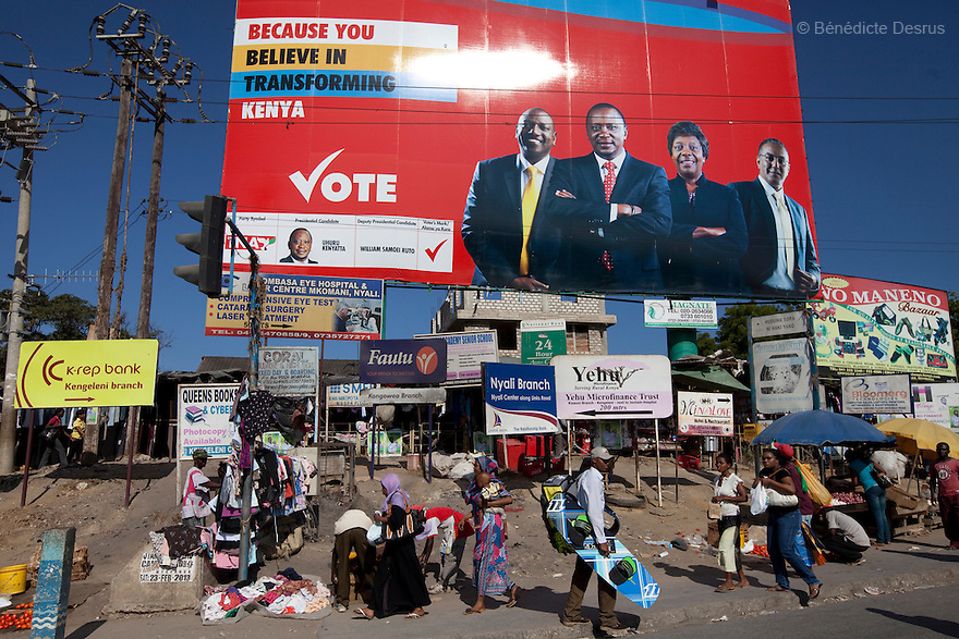 28 february 2013 - Mombasa, Kenya - A campaign poster of Kenya's Deputy Prime Minister and Presidential candidate Uhuru Kenyatta from The National Alliance (TNA) in Mombasa, Kenya. General elections will be held in Kenya on 4 March 2013. They will be the first elections held under Kenya's new constitution, promulgated in 2010. The last Kenya's elections left more than 1000 people dead and 650,000 displaced. Presidential candidate Uhuru Kenyatta is facing charges of crimes against humanity at the International Criminal Court (ICC) for his role in inciting the 2007-2008 post-election violence. Photo credit: Benedicte Desrus