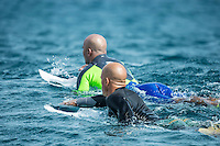 Namotu Island Resort, Namotu, Fiji. (Monday June 2, 2014) Kelly Slater (USA) and Fred Patacchia (HAW) – The 2014 Fiji Pro was called on this morning with the swell running in the 3' plus range. The start was delayed till 10.30 am because of the 9.30 am high tide and then they ran the whole of Round 1. Photo: joliphotos.com