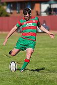 Gavin Donald kicks the first of his 5 penalties. Counties Manukau Premier Club Rugby game bewtween Waiuk & Karaka played at Waiuku on Saturday April 11th, 2010..Karaka won the game 24 - 22 after leading 21 - 9 at halftime.
