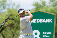 Kiradech Aphibarnrat (THA) on the 18th tee during the first round at the Nedbank Golf Challenge hosted by Gary Player,  Gary Player country Club, Sun City, Rustenburg, South Africa. 14/11/2019 <br /> Picture: Golffile | Tyrone Winfield<br /> <br /> <br /> All photo usage must carry mandatory copyright credit (© Golffile | Tyrone Winfield)