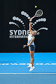9th January 2018, Sydney Olympic Park Tennis Centre, Sydney, Australia; Sydney International Tennis, round 1; Elena Vesnina (RUS) serves in her match against Dominika Cibulkova (SVK)