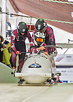 9 January 2016: Canadian pilot Kaillie Humphries leads her 4-man team as they push off their first run of the day at the BMW IBSF World Cup Bobsled Championships at the Olympic Sports Track in Lake Placid, New York, USA. Humphries' team came in 17th for the day, with a 2-run combined time of 1:54.47. Mandatory Credit: Ed Wolfstein Photo *** RAW (NEF) Image File Available ***