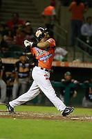 Heber Gomez , durante el juego de beisbol de Naranjeros vs Cañeros durante la primera serie de la Liga Mexicana del Pacifico.<br /> 15 octubre 2013