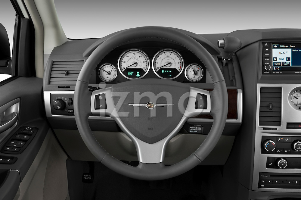 Steering wheel view of a 2010 Chrysler Town and Country Touring