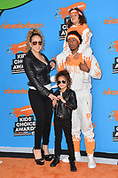Mariah Carey, Nick Cannon, Moroccan Scott Cannon &amp; Monroe Cannon at Nickelodeon's 2018 Kids' Choice Awards at The Forum, Los Angeles, USA 24 March 2018<br /> Picture: Paul Smith/Featureflash/SilverHub 0208 004 5359 sales@silverhubmedia.com