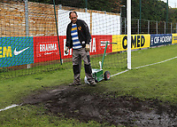 Groundstaff start looking a bit concerned as kick-off is only an hour away and quite a bit of work on the goalmouth still needs doing during Guatemala Under-23 vs England Under-20, Tournoi Maurice Revello Football at Stade Marcel Cerdan on 11th June 2019