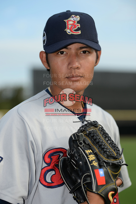 Brevard County Manatees pitcher Wei-Chung Wang (18) poses for a photo before a game against the Dunedin Blue Jays on April 23, 2015 at Florida Auto Exchange Stadium in Dunedin, Florida.  Brevard County defeated Dunedin 10-6.  (Mike Janes/Four Seam Images)
