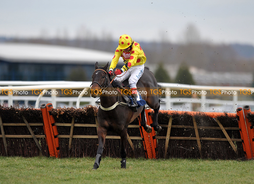 Montbazon ridden by Robert Thornton jumps the last flight of hurdles and goes on to win the Betfair. Don´t Settle For Less Novices´ Hurdle Cl4 2m110y - Horse Racing at Newbury Racecourse, Berkshire - 17/02/2012 - MANDATORY CREDIT: Martin Dalton/TGSPHOTO - Self billing applies where appropriate - 0845 094 6026 - contact@tgsphoto.co.uk - NO UNPAID USE.
