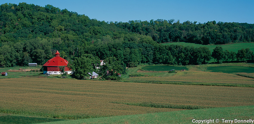 Pepin County, WI<br /> Farm with octagonal red barn and corn fields in a valley under forested hills