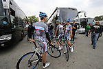 Southeast team riders outside the team bus before the start of the 2015 96th Milan-Turin 186km race starting at San Giuliano Milanese, Italy. 1st October 2015.<br /> Picture: Eoin Clarke | Newsfile