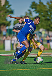 18 September 2013: Hofstra University Pride Midfielder Reece Alexander, a Freshman from Burton, England, in action against the against the University of Vermont Catamounts at Virtue Field in Burlington, Vermont. The Catamounts defeated the visiting Pride 2-1. Mandatory Credit: Ed Wolfstein Photo *** RAW (NEF) Image File Available ***