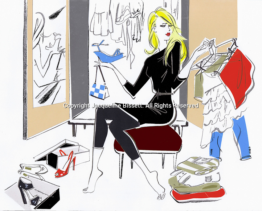 Woman in bedroom deciding what to wear