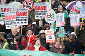 Labour MPs Jeremy Corbyn, Emily Thornbury and David Lammy. Save Whittington Hospital Campaign march and rally, Islington, London.