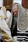 Israel, Bnei Brak. Succot holiday at the Premishlan congregation. The Rebbe with the Torah scrolls<br />