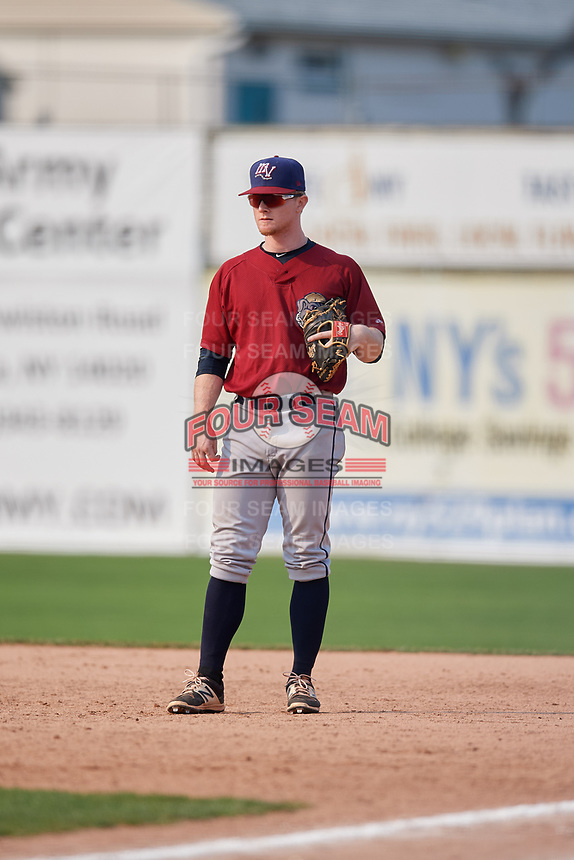 Mahoning Valley Scrappers first baseman Mitch Reeves (1) during the second game of a doubleheader against the Batavia Muckdogs on September 4, 2017 at Dwyer Stadium in Batavia, New York.  Mahoning Valley defeated Batavia 6-2.  (Mike Janes/Four Seam Images)