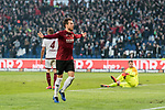 09.02.2019, HDI Arena, Hannover, GER, 1.FBL, Hannover 96 vs 1. FC Nuernberg<br /> <br /> DFL REGULATIONS PROHIBIT ANY USE OF PHOTOGRAPHS AS IMAGE SEQUENCES AND/OR QUASI-VIDEO.<br /> <br /> im Bild / picture shows<br /> Jubel 2:0, Nicolai M&uuml;ller / Mueller (Neuzugang Hannover 96 #21) bejubelt seinen zweiten Treffer im Spiel, Almeida Santos Ewerton Jos&eacute; (Nuernberg #04), Christian Mathenia (Nuernberg #26) bedient, <br /> <br /> Foto &copy; nordphoto / Ewert